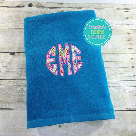 Applique Teal Beach Towel