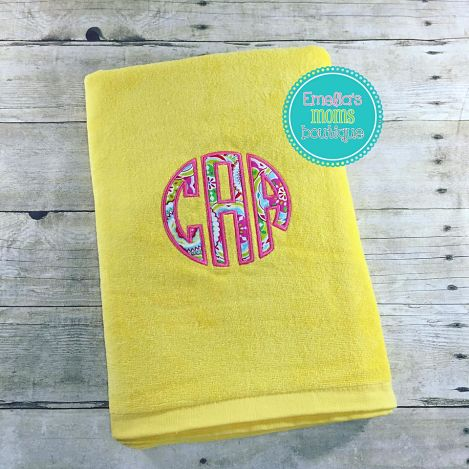 Applique Yellow Beach Towel