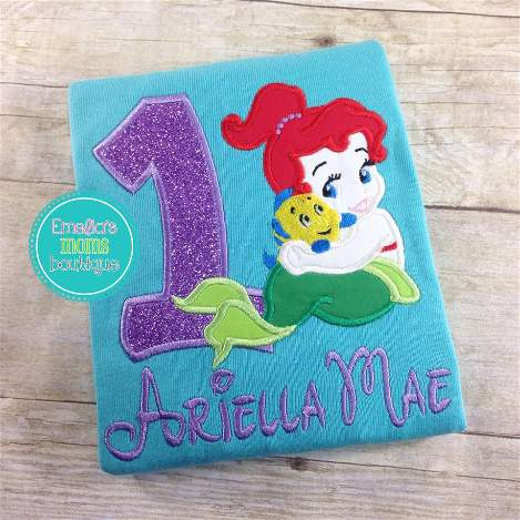 Baby Ariel Little Mermaid Birthday Shirt For Girls Party