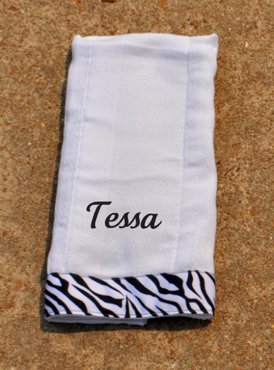 Zebra Print Burp Cloth