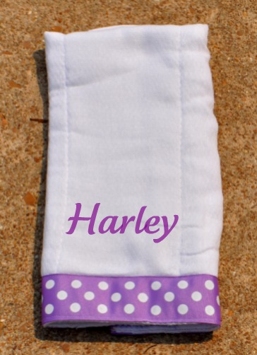 Purple Polka Dot Burp Cloth