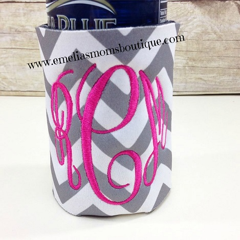 Grey/White Chevron Koozie