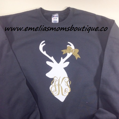 Womens Deer/Monogram Sweater